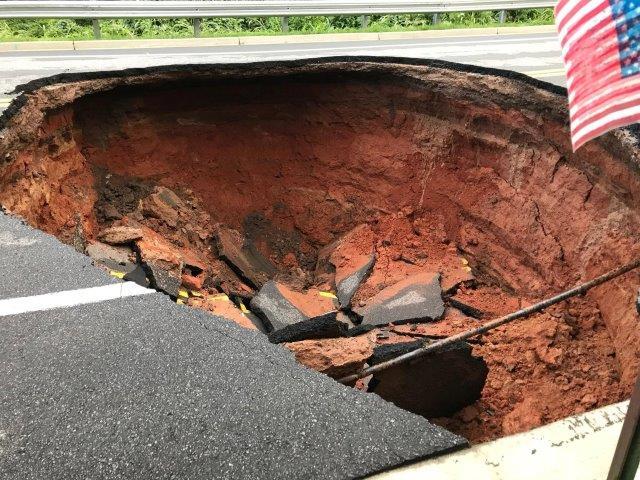 Sink hole on Townville Street. (Source: Jesse Kellie)