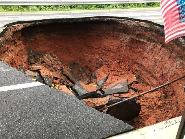 Sink hole on Townville Street. (Source: Jesse Kellie)