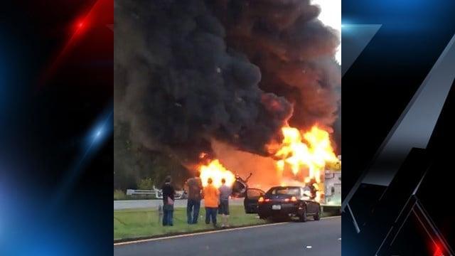 Fiery collision on I-85 N in Cherokee Co. (Source: Dawn F.)