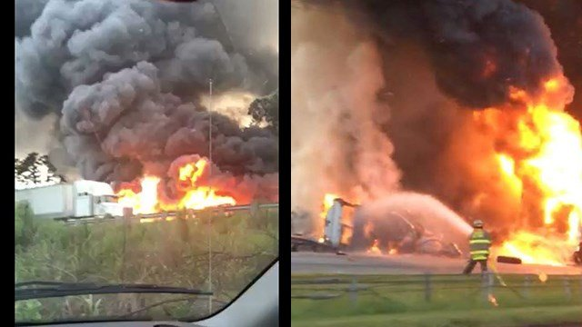 Fiery collision on I-85 N in Cherokee Co. (Source: Dawn F.)