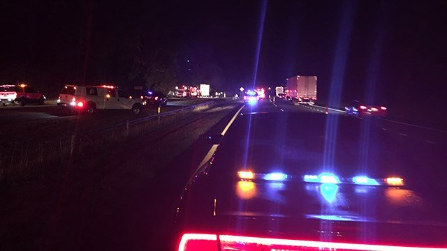 Traffic on I-85 S as first responders clear debris. (6/14/17 FOX Carolina)