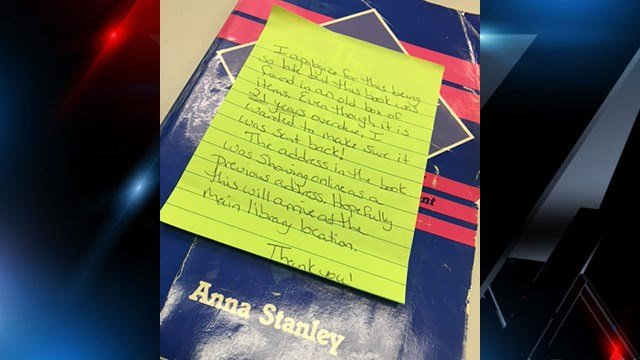 Book returned to library after 21 years with note on the cover (FOX Carolina/6/14/17)