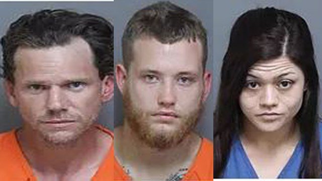 William Elbert Blackwell Jr (left), Chad Dale Martin Jr. (center), Casey Brooke Milosek (right) (Source: LCSO)