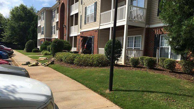 Car into building at Ashton Park Apartments. (Source: Witness)