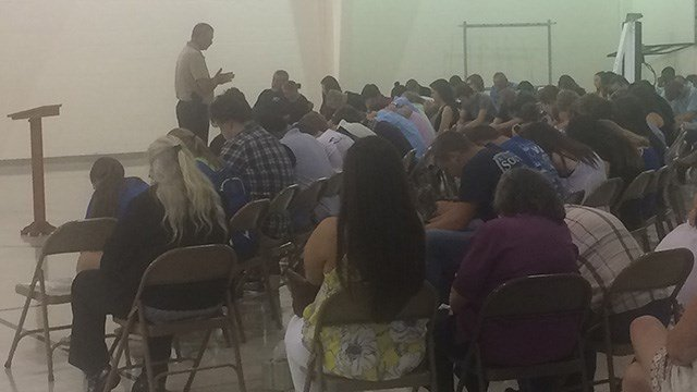 Sheriff Chuck Wright speaks at vigil held for Dillon Ray Spears. (6/19/17 FOX Carolina)