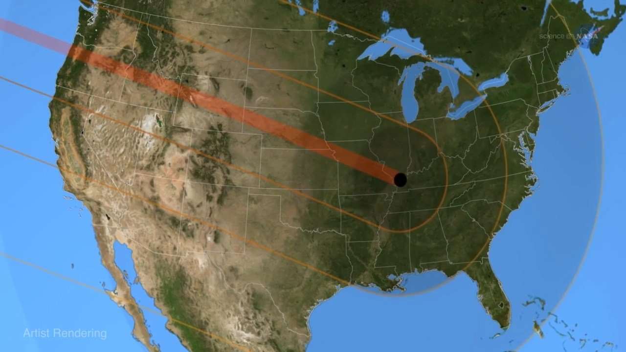 NASA image showing the path of the total eclipse across the US (Source: Clemson Univ. / NASA)