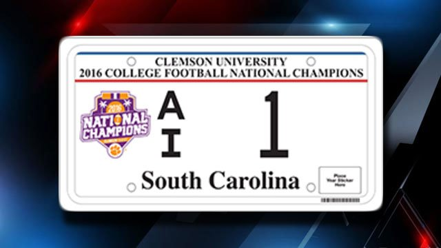 Clemson National Championship license plate design (Source: SCDMV)