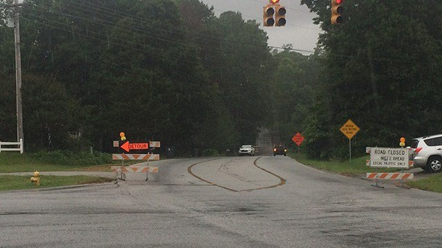 Road closed as bridge is being repaired. (6/20/17 FOX Carolina)
