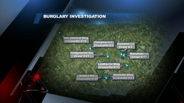 Map of burglaries targeting business owners (file/FOX Carolina)