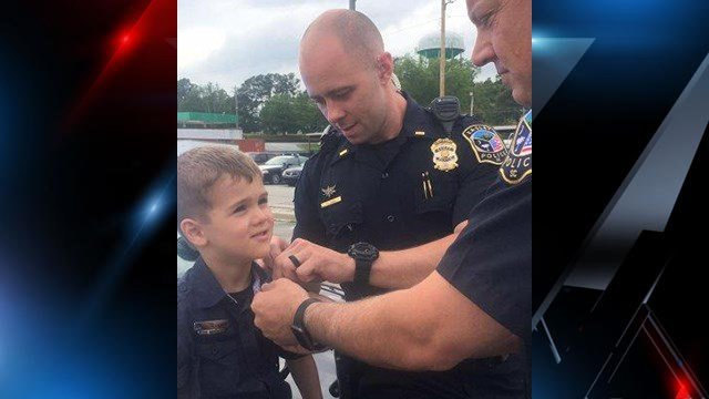 Cole Bowers gets a special birthday treat from Easley PD (Source: Kate Bowers)
