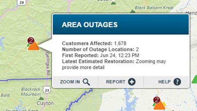 Widespread outage in Franklin, NC. (Source: Duke Energy Outage Map)