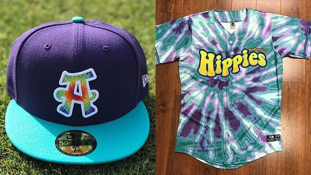 "Asheville Tourist ""Hippies"" cap and jersey (Source: The Asheville Tourists)"