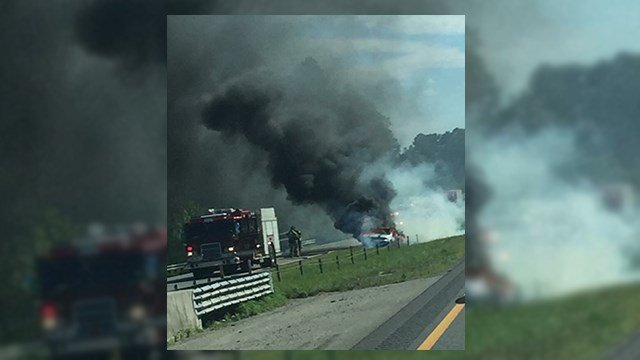Car on fire on I-85 N in Cherokee Co. (Source: Witness)