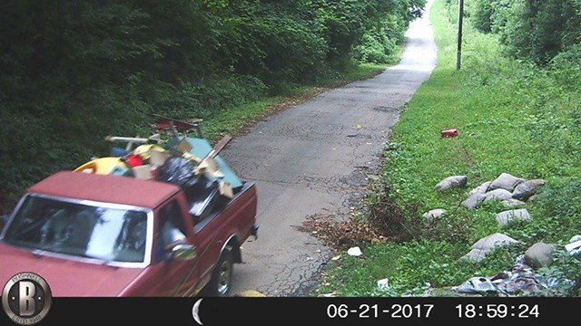 Police say the driver of this vehicle is wanted for illegally dumping trash in Spartanburg. (Spartanburg PD)