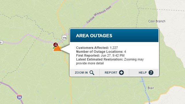Outage reported in Newberry Co. (Source: Duke Energy Outage Map)
