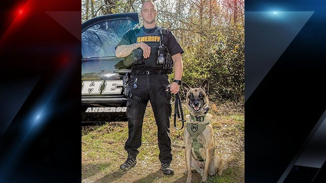 Anderson County Sheriff pose with K9 Face (Source: Anderson Co. Sheriff's Office)