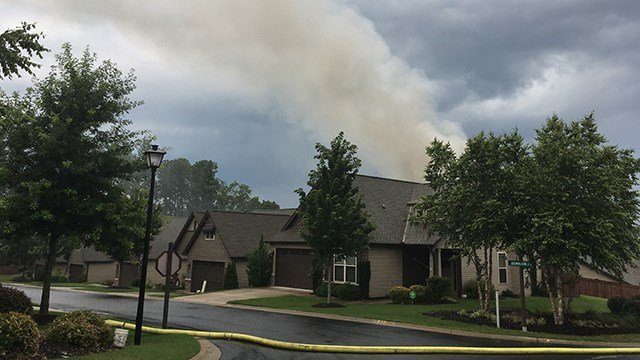 Smoke from house fire on Brownstone Circle in Greenville (FOX Carolina/ 6/29/17)