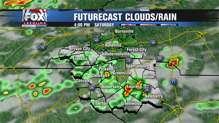 Scattered showers and storms today; clearing out Sunday
