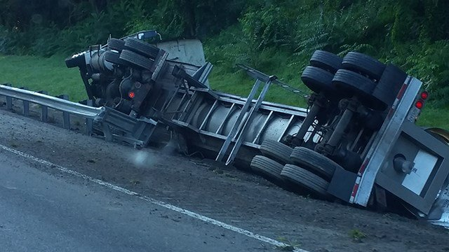 Overturned tanker on I-26 East. (Source: Gary R.)