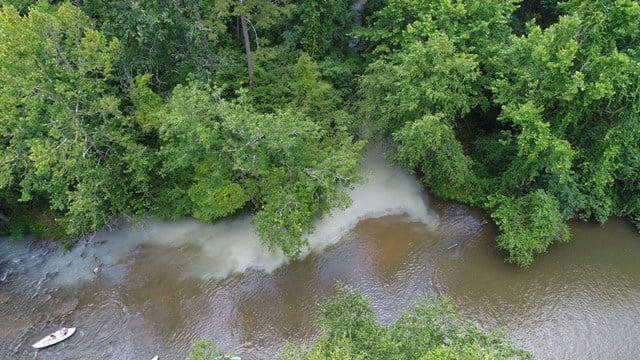 Aerial photo of milk spill from overturned tanker (FOX Carolina/ 7/1/17)