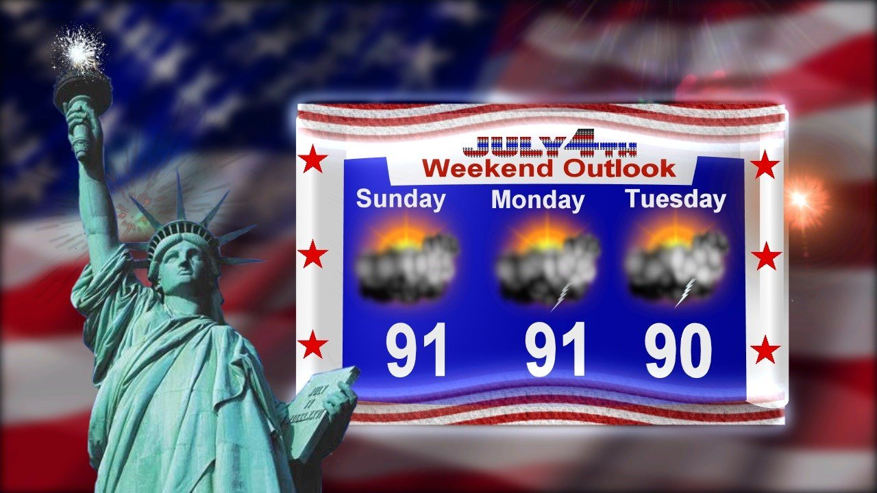 Storms possible Monday and for the 4th