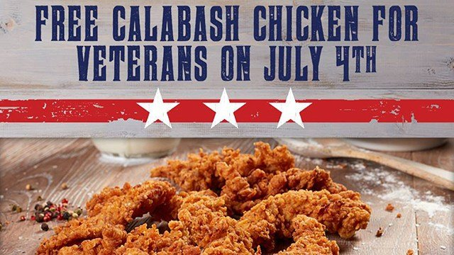 Free Calabash Chicken Plate for vets, active military. (Source: Fatz)