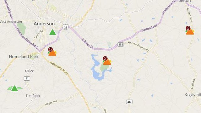 Outages reported in Anderson Co. (Source: Duke Energy Outage Map)