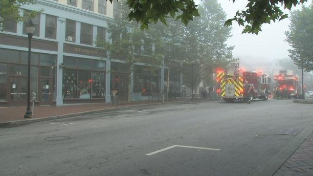 Fire trucks on Pack Square (FOX Carolina/ July 5, 2017)