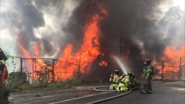 Fire at Cateechee Mill (July 6, 2017/FOX Carolina)