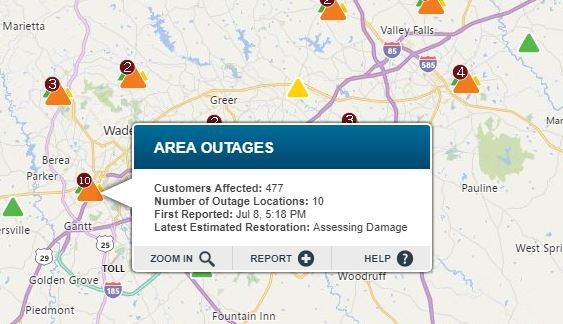 Power outages in Greenville Co. (Source: Duke Energy Outage Map)