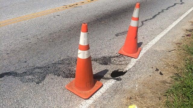Crumbling roadway in Hodges (July 10, 2017/FOX Carolina)