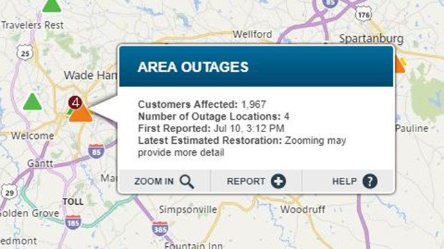 Power outage in Greenville. (Source: Duke Energy Outage Map)