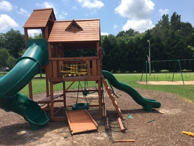 Vandalism at Starr playground (July 11, 2017/FOX Carolina)