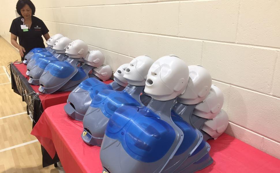 SRHS instructors set up the CPR dolls (FOX Carolina/ July 12, 2017)