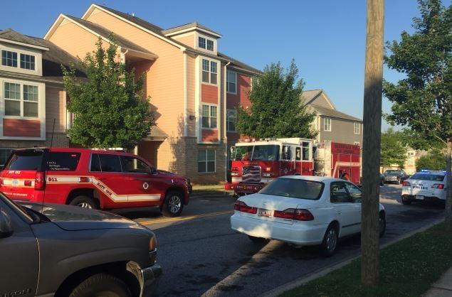 Fire trucks at Heritage Apartments (FOX Carolina)