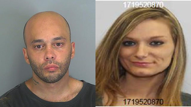 WANTED: James Grady Lee Johnson (left) and Kristin Carroline Peebles (right) (Source: Spartanburg County Sheriff's Office)
