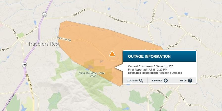 Outages in Travelers Rest. (Source: Duke Energy Outage Map)