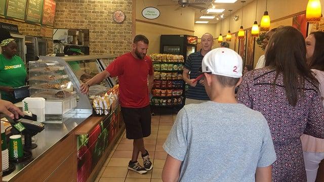 Coach Southerland received award at Subway in Greenville. (7/16/17 FOX Carolina)