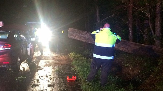 Car crashed into tree, knocking it into roadway in Greenville. (7/17/17 FOX Carolina)