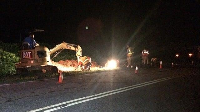 Water main break on SJ Workman Highway. (7/17/17 FOX Carolina)