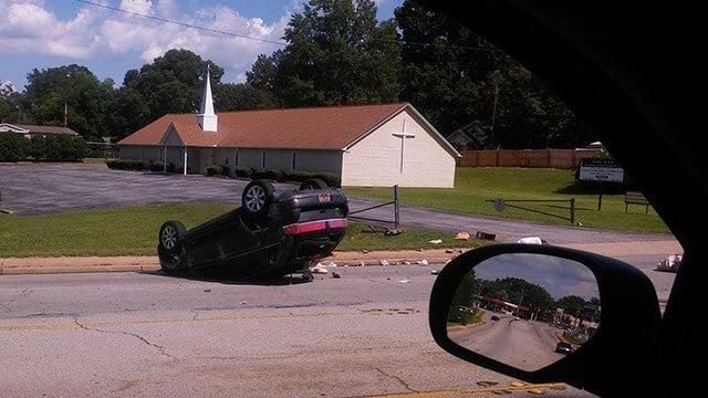 Vehicle overturned on W Blue Ridge Drive (Source: Alan Mcwhite)