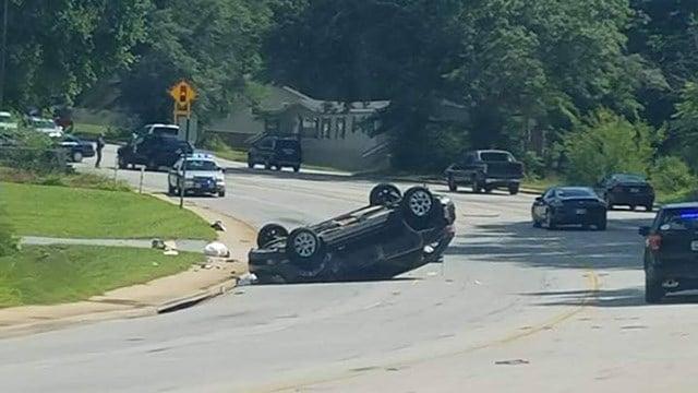 Vehicle overturned on W Blue Ridge Drive (Source: Sarah Kivett)