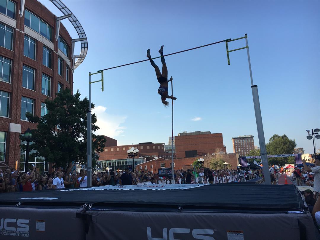 Olympian Sandi Morris attempts a vault Wednesday (FOX Carolina/ 7/19/17)