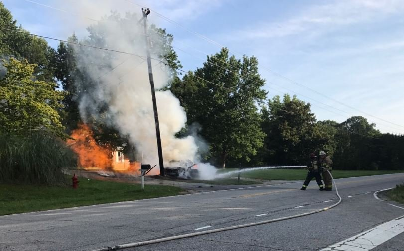 Firefighters trying to put out the gas line fire (Liberty FD/ July 20, 2017)