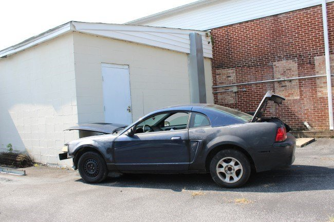 Car crashed into building after chase (Source: Tricia Taber/The News Leader of Landrum)