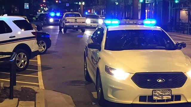 Police on scene of stabbing in downtown Greenville (July 23, 2017/FOX Carolina)