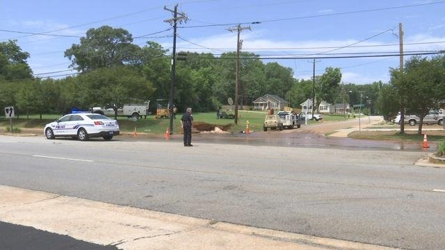 Water main break on Rutherford Rd. (FOX Carolina/ July 24, 2017)