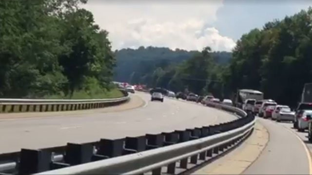 Traffic stopped on U.S. 74 (July 25, 2017/FOX Carolina)