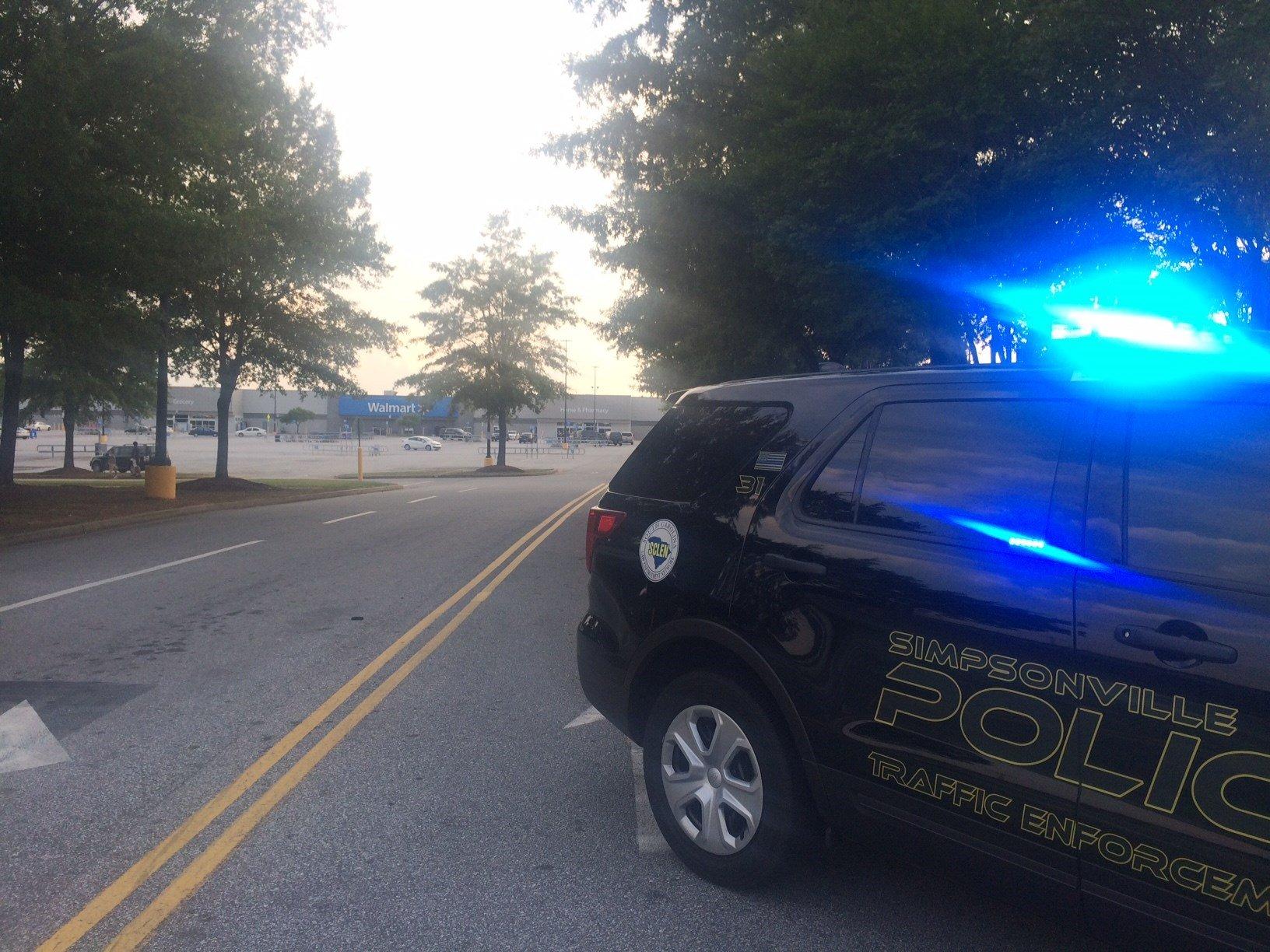 Police on scene at Simpsonville Walmart (July 25, 2017/FOX Carolina)