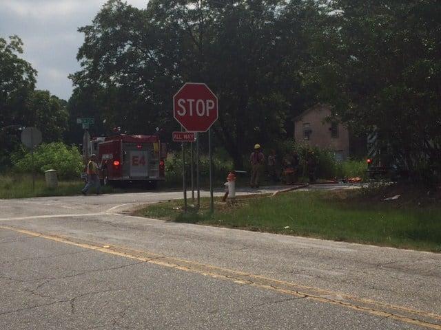 Firefighters on New Cut Road (July 26, 2017/FOX Carolina)